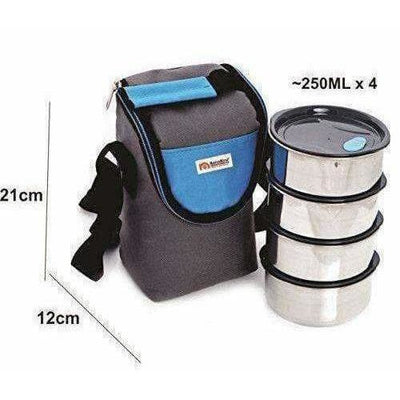Stainless Steel Lunch Box Set with Pouch, 250ml, Set of 4