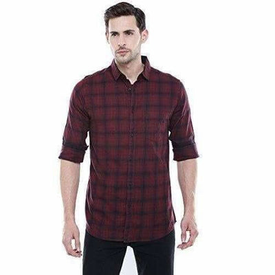 Men's Checkered Maroon Slim Fit Casual Shirt