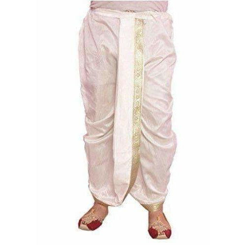 Men's Silk Solid Dhoti (White, Free Size)