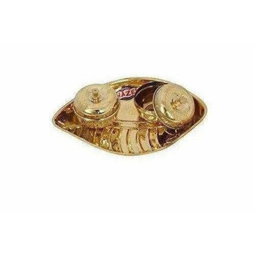 Golden - Brass Pooja Plate Thali with Set of 2 Holders - Distacart