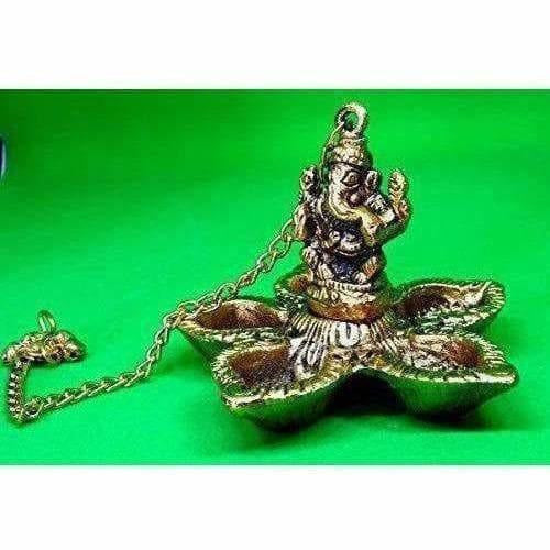 Hanging Ganesh - Handcrafted Golden Polished Brass - Dista Cart