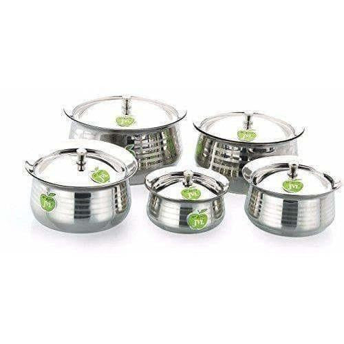 Silver Touch Stainless Steel Handi with Lid - Set of 5