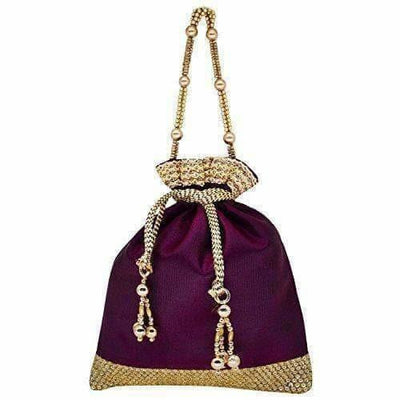 Ethnic Clutch Silk Potli Batwa Pouch Bag with Metal Beadwork Gift For Women