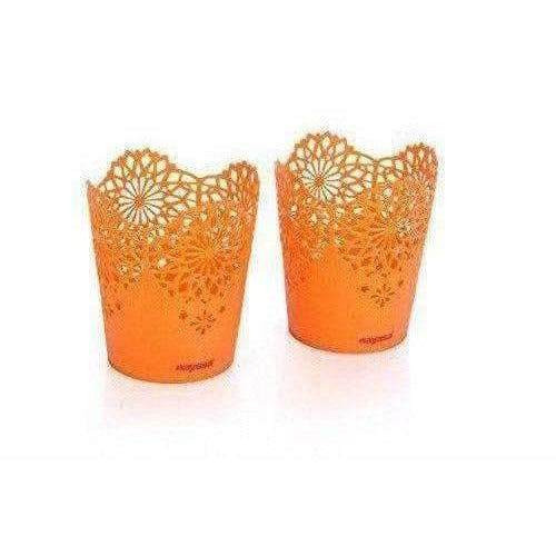 Lacy 2 Piece Plastic Tall Basket Set, Orange