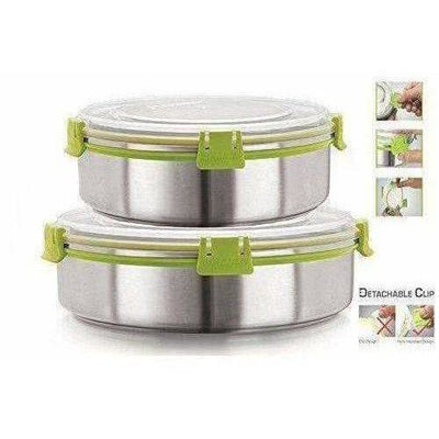 Stainless Steel Airtight & Leak Proof Containers Set, 1300 ml & 1750 ml, Set Of 2