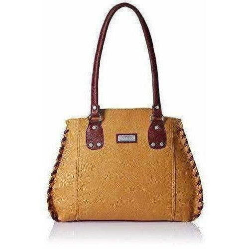 Women's Handbag (Beige And Maroon)