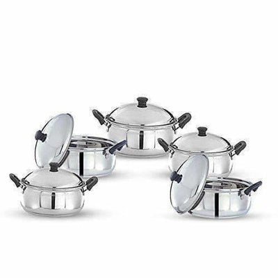 Stainless Steel Cook and Serve Handi Set (5-Pieces, Silver)
