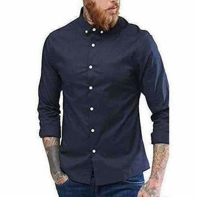 Men's Contrast Button Slim Fit Formal Shirt