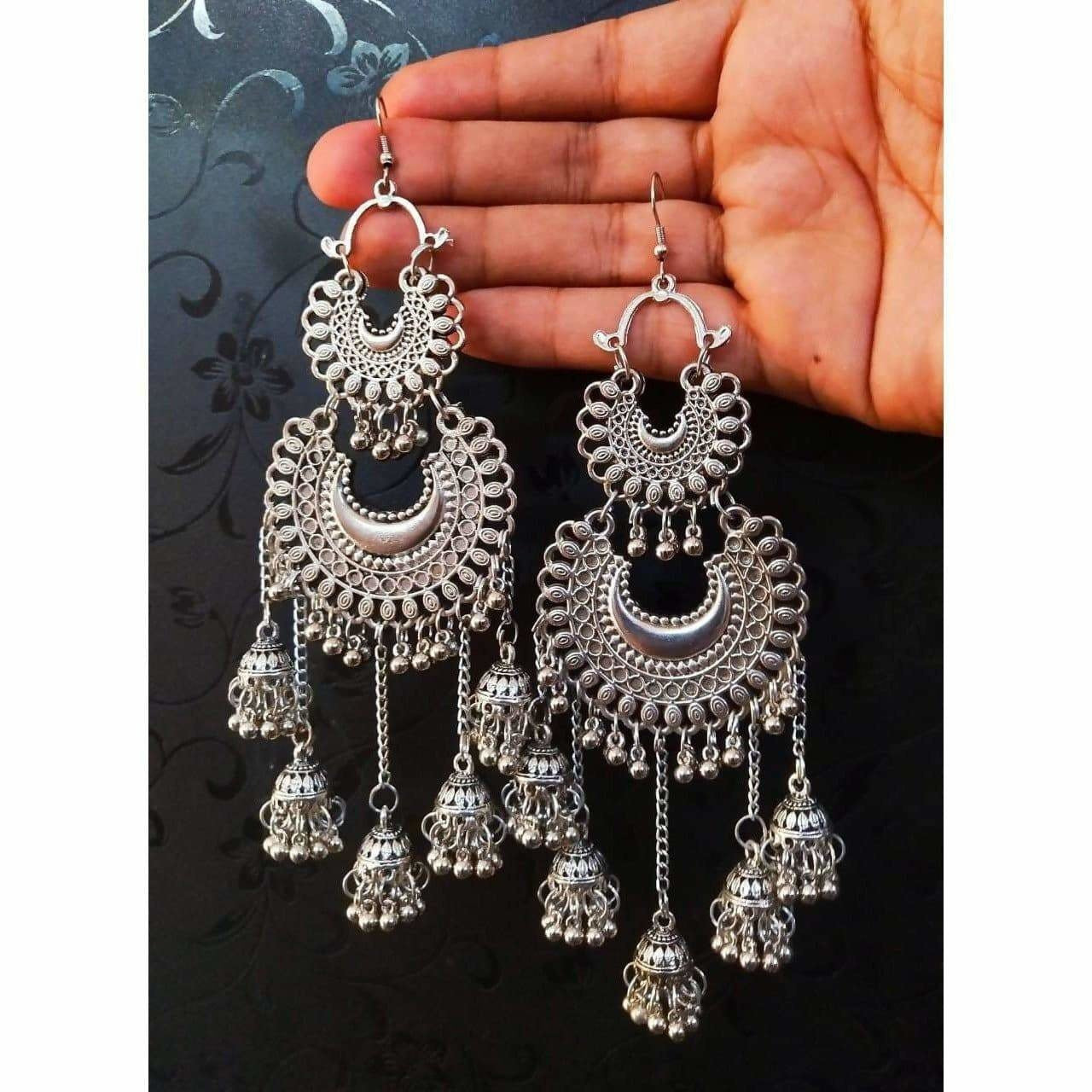 Double Half Moon With Hanging Jhumkas