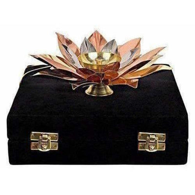 Copper Plated Lotus Design Diya