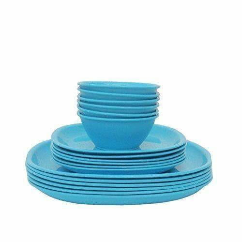 Plastic Square Plate and Bowl Set, 18-Pieces, Turquoise