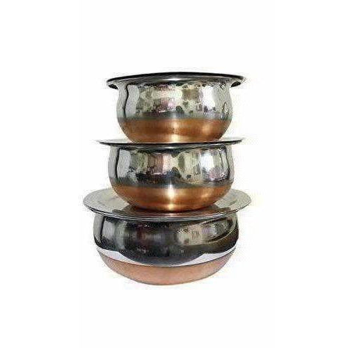 Stainless Steel Serving Bowl with Lid Set of 3