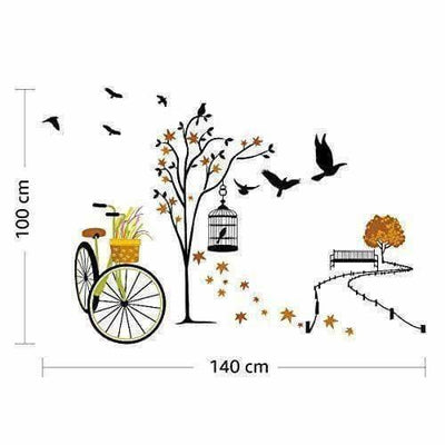 Wall Sticker for Living Room(Ride Through Nature, Ideal Size on Wall : 140 cm x 100 cm),Multicolour - Distacart