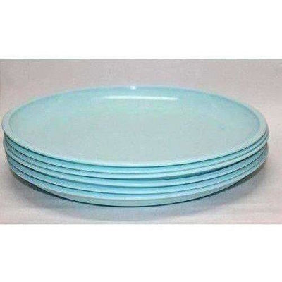 Microwave Safe & Unbreakable Round Full Plates with Bowl Pack of 6 Plates & 6 Bowl Set.- 12 Pieces - Aqua Blue Color