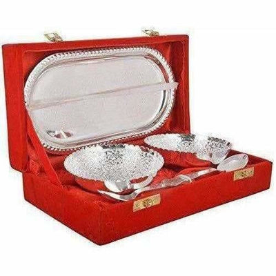 Handmade Silver Plated Brass Bowl with Tray - Set of 5 Pieces
