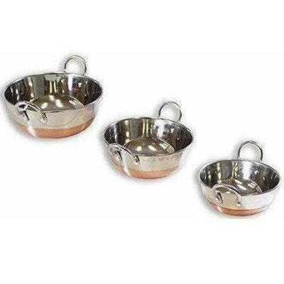 Stainless Steel Copper Bottom Kadhai with Handle - Set of 3 Pieces