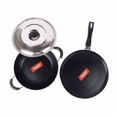Nonstick Induction Base Cookware Set of Tawa + Kadhai