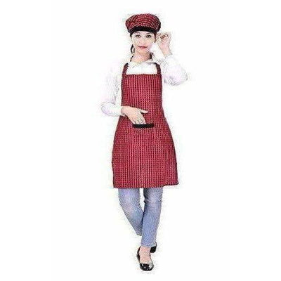 Red And Black Apron With Cap