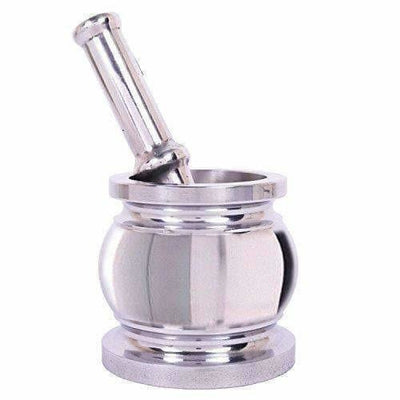Stainless Steel Kitchen khalbatta, Okhli Masher, Mortar And Pestle Set (Steel)
