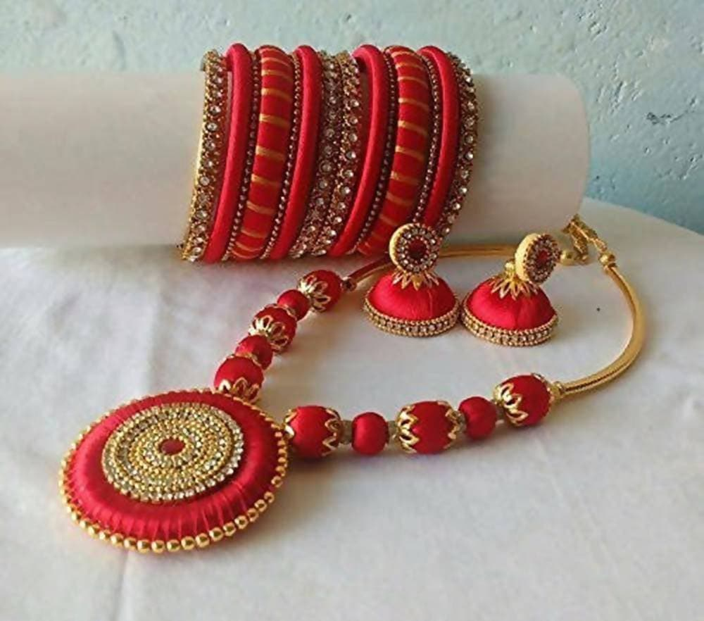 Red with Gold Color Silk Threaded Necklace Set, Earrings And Bangles