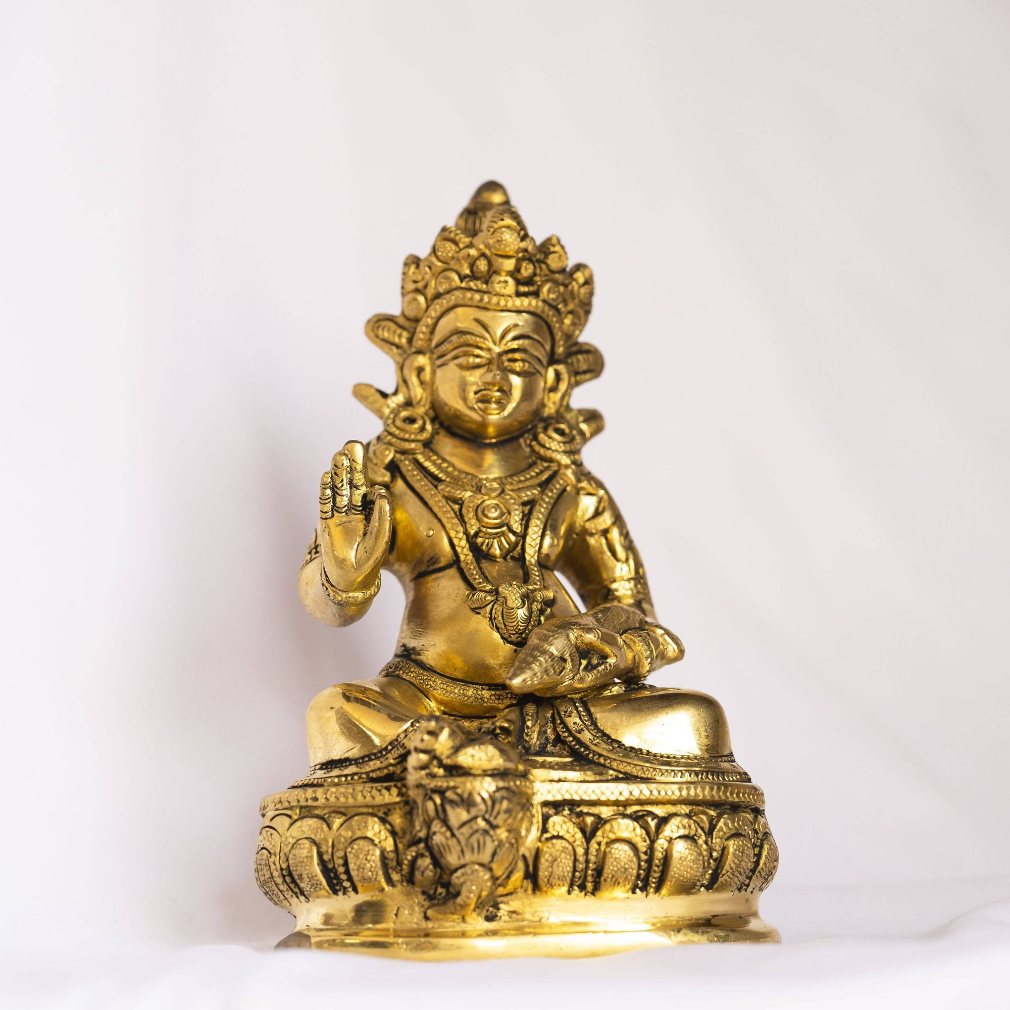 Myoksha Lord Kubera Brass Idol - For Wealth And Prosperity
