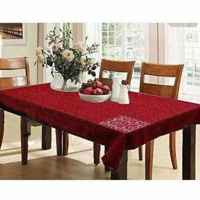 Cotton Dining Table Cover 6 Seater - Maroon