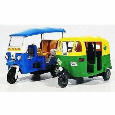 Indian Iconic Tuktuk-CNG Auto Rickshaw Toy (Blue & Green)- Pack Of 2 - Dista Cart