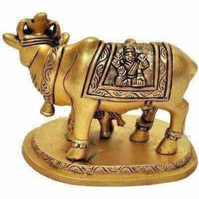 Brass Holy Kamdhenu Cow and Calf Sculpture - Dista Cart