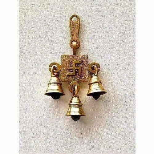 Brass Swastika Hanging Bells - Dista Cart