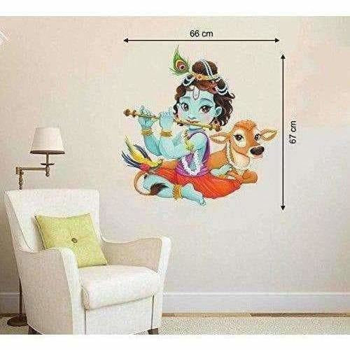 'Lord Krishna Flute Playing with Cow' Wall Sticker (PVC Vinyl, 66 cm x 67cm) - Dista Cart