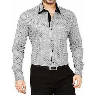 Men's Cotton Casual Polka Printed Shirt