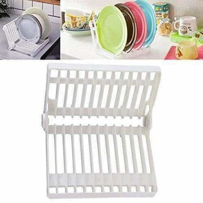 White Color - Folding Plastic Kitchen Dish Rack Stand Plate Holder - 2 Piece