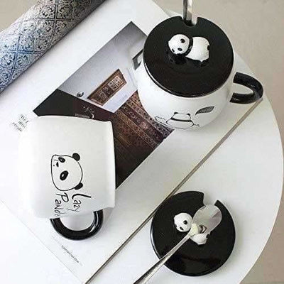 Panda Ceramic Mug with Ceramic Lid and Spoon(Random Design)-300 ML (Pack of 1)
