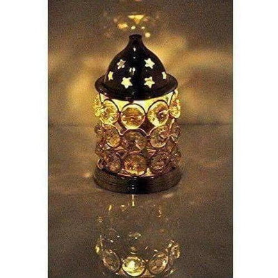 Brass Akhand Diya -Diamond Crystal Deepak - Oil Lamp - Dista Cart