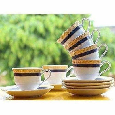 Classical Golden Border Cup Set with Saucer, Set of 12, 200ml