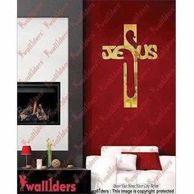 Gold Color - Jesus 3D Acrylic Mirror Wall Sticker