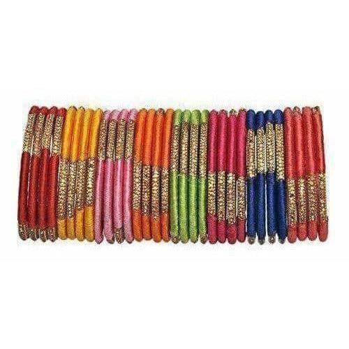 Beautiful Designer Multicolour Silk Thread Bangles Set