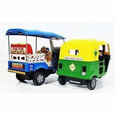 Indian Iconic Tuktuk-CNG Auto Rickshaw Toy (Blue & Green)- Pack Of 2