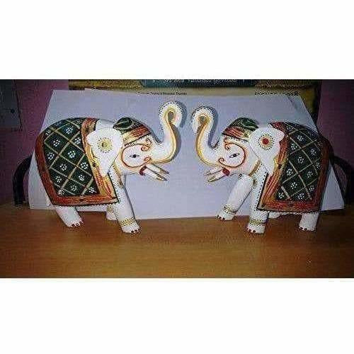 Kondapalli Handmade Elephants 2 Nos. Multi color Showpiece - Dista Cart