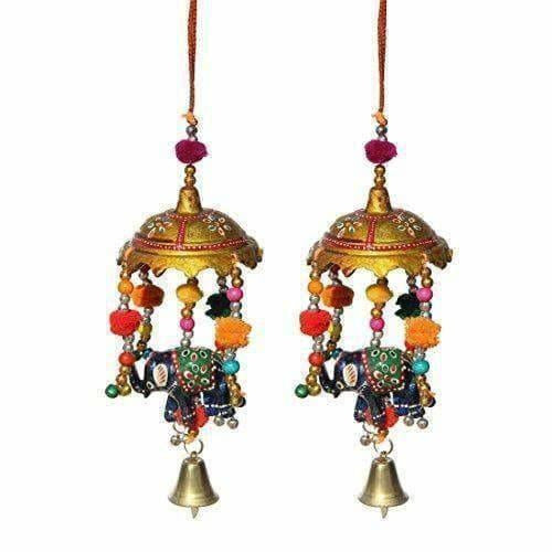 Handicrafts Paradise Umbrella with Elephant Painted and Metal Bell Paper Mache Door Hanging (7.65 cm x 7.65 cm x 22.95 cm, Set of 2) - Dista Cart
