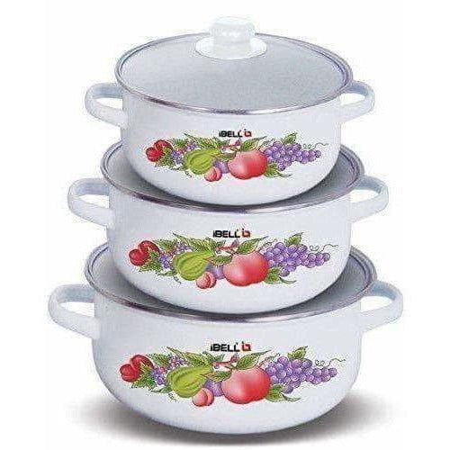 Decorative Enamel Casserole with Glass Lids - Set of 3