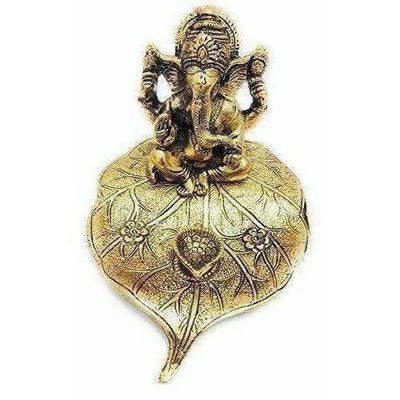 Handicraft Ganesha Sitting on Leaf with Diya Gold Plated for Home Decor - Distacart