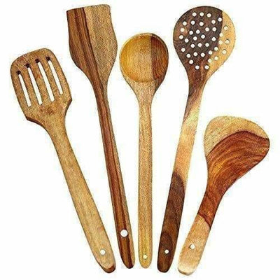 Wooden Cooking Spoon Set For Non Stick - Spatulas,Ladles & Dining Table - Kitchen Tools