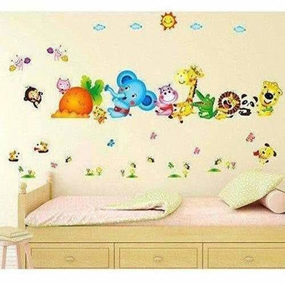 Happy Cute Elephant Monkey Cartoon Animals  Wall Sticker