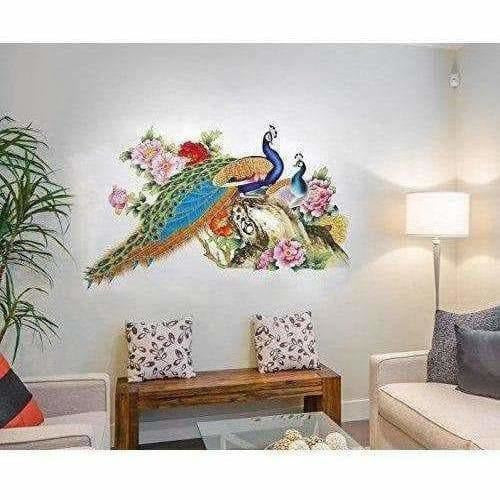 Multi color Peacock Birds Nature Wall Sticker - Model 2