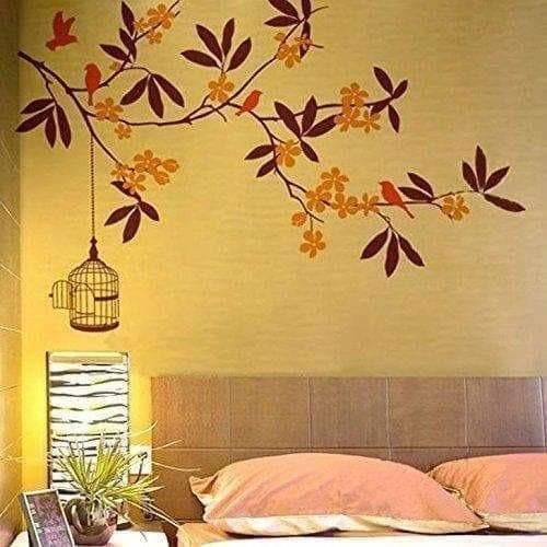 Branch Flowers and Cage Wall Sticker - Multi color - Dista Cart