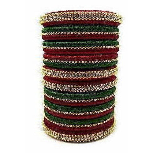 Handmade Silk Thread Bangle Maroon and Green Color - Dista Cart