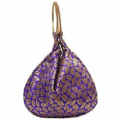 Ethnic Clutch Silk Potli Batwa Pouch Bag with Metal Bead work
