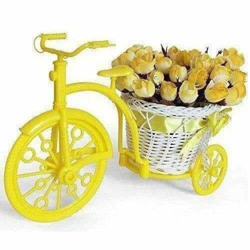 Cycle Shape Plastic Decoration Flower Vase with Peonies Bunch