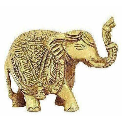 Brass Trunk up Elephant Statues Set of 2 - Showpiece Statue